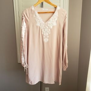 Paper Crane Embroidered Boho Dress Lace Up Sleeves